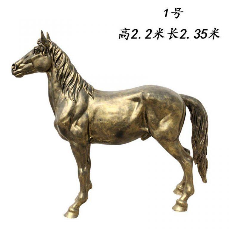 玻璃钢仿铜马动物雕塑1