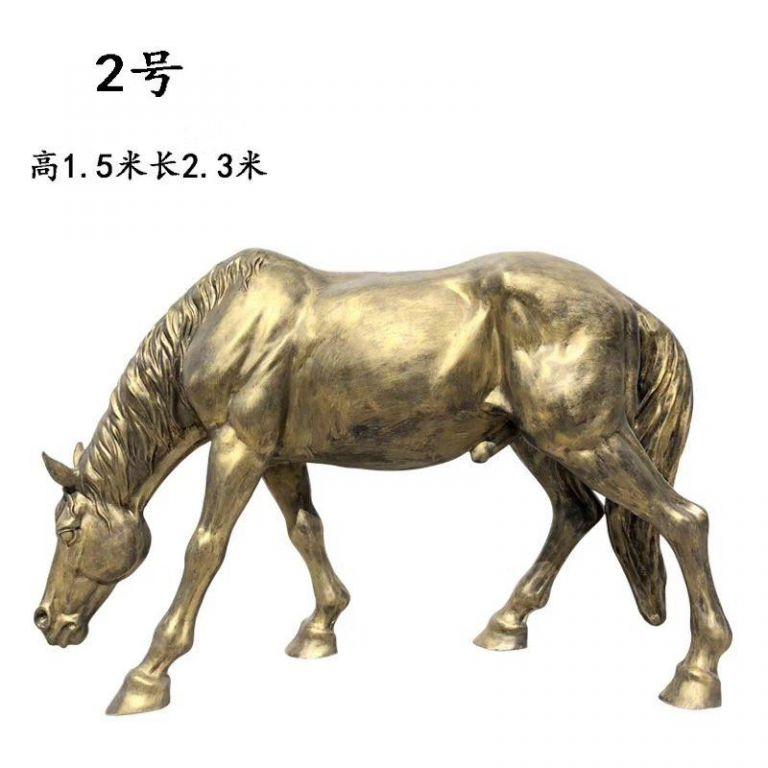 玻璃钢仿铜马动物雕塑3