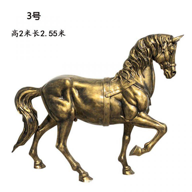 玻璃钢仿铜马动物雕塑4